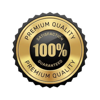 100% satisfaction guaranteed premium quality badge black and gold glossy metallic luxury vintage logo