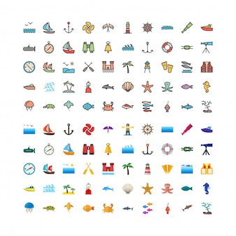 100 sea linefilled and flat icons set