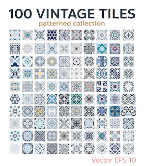 100 set vintage tiles patterns antique seamless design