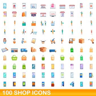 100ショップアイコンセット。白い背景で隔離の100ショップアイコンベクトルセットの漫画イラスト