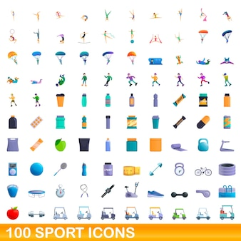 100 sport icons set. cartoon illustration of 100 sport icons  set isolated on white background