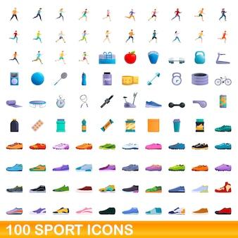 100 스포츠 아이콘을 설정합니다. 100 스포츠 아이콘의 만화 그림에 격리 된 흰색 배경 설정