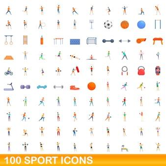 Набор 100 спортивных иконок. карикатура иллюстрации 100 спортивных иконок векторный набор, изолированные на белом фоне