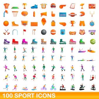 100 sport icons set, cartoon style
