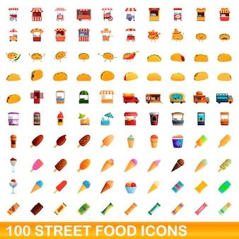 100개의 길거리 음식 아이콘이 설정되었습니다. 100 길거리 음식 아이콘 벡터 세트의 만화 그림 흰색 배경에 고립