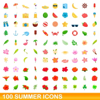 100 summer icons set. cartoon illustration of 100 summer icons set isolated