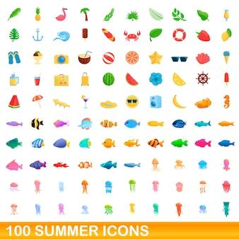 Набор 100 летних иконок. карикатура иллюстрации 100 летних векторных иконок, изолированные на белом фоне