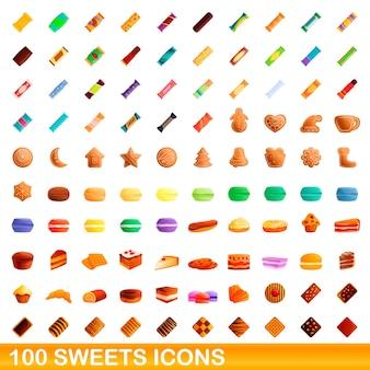 お菓子のアイコン100個セット。白い背景で隔離の100のお菓子アイコンセットの漫画イラスト