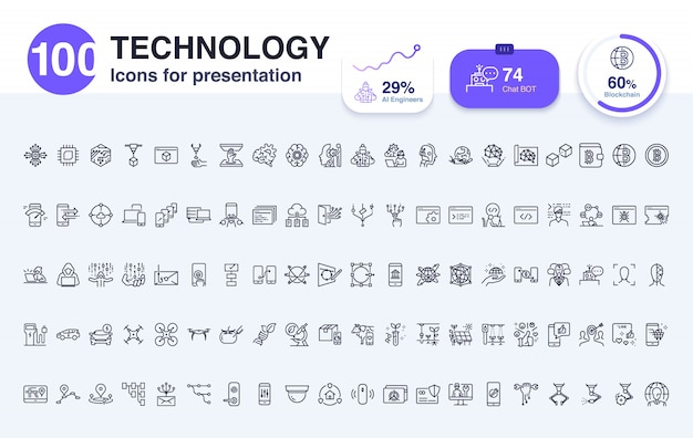 100 technology line icon for presentation