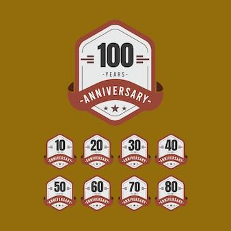 100周年記念ゴールドブラックホワイトテンプレートイラスト