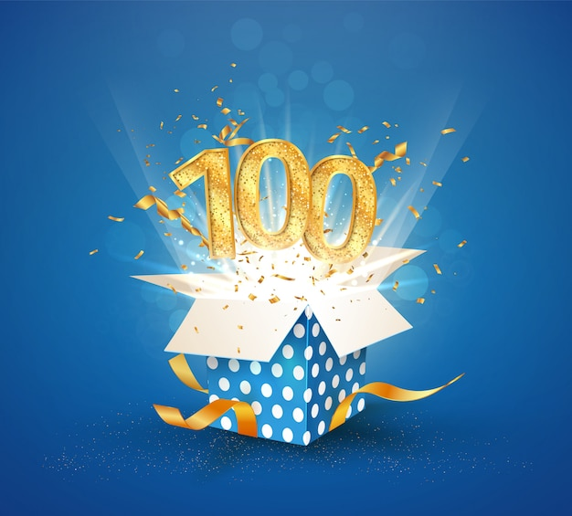 100 th years anniversary and open gift box with explosions confetti. isolated  element.