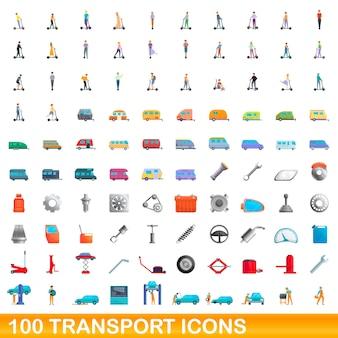 100個のトランスポートアイコンが設定されています。白い背景で隔離の100のトランスポートアイコンベクトルセットの漫画イラスト