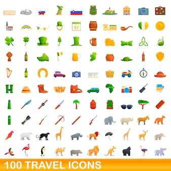 100 travel icons set. cartoon illustration of 100 travel icons  set isolated on white background