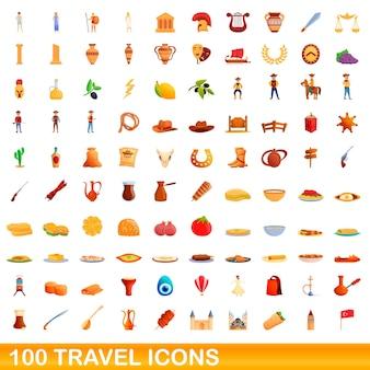 100の旅行アイコンが設定されています。白い背景で隔離の100の旅行アイコンベクトルセットの漫画イラスト