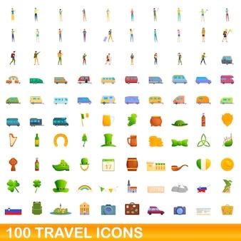 Набор иконок 100 путешествия. карикатура иллюстрации 100 туристических векторных иконок, изолированные на белом фоне