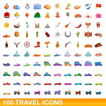100 travel set, cartoon style