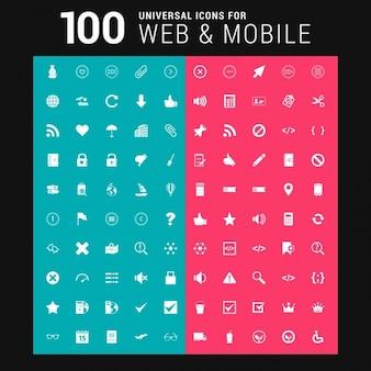 ウェブとモバイル用の設定100普遍的なアイコン