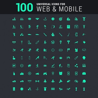 100 universal icons set for website and mobile