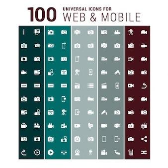 100ウェブとモバイルアイコン