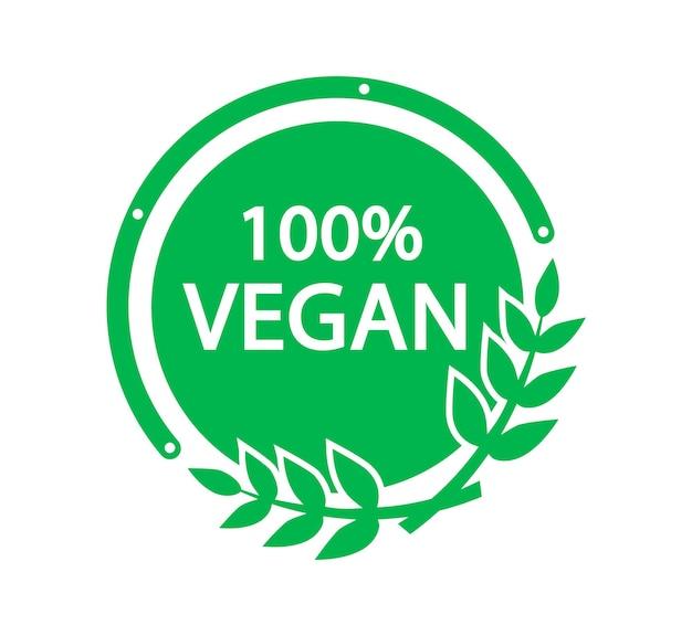 100 vegan vector logo vegetarian organic food label badge with leaf