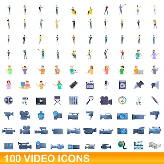 100개의 비디오 아이콘이 설정되었습니다. 100 비디오 아이콘 벡터 세트의 만화 그림 흰색 배경에 고립