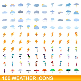 100개의 날씨 아이콘이 설정되었습니다. 100 날씨 아이콘의 만화 그림 격리 설정
