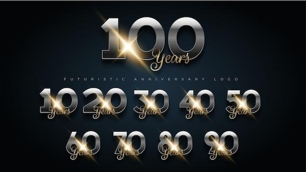 100 년 럭셔리 골드 및 실버 기념일 번호 세트 로고