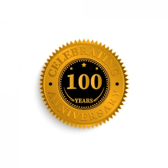 100 years anniversary badge logo with black and gold color. vector illustration