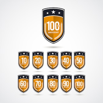 100 years anniversary celebration label logo template design illustration