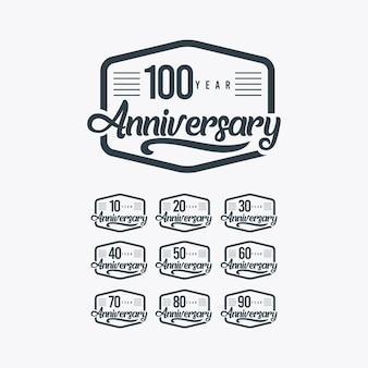 100 years anniversary celebration retro template illustration