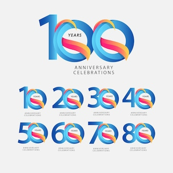 100 years anniversary celebrations blue gradient  template