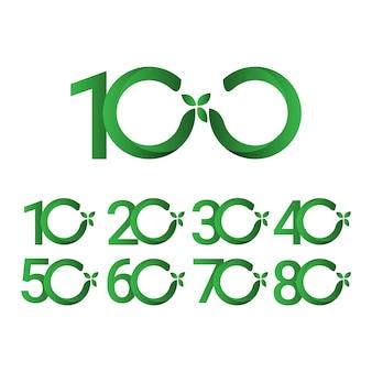 100 years anniversary green leave illustration