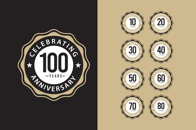 100 years anniversary set celebrations elegant template design illustration