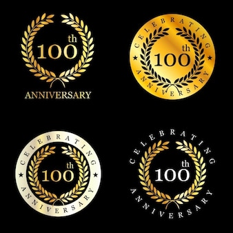 100 years celebrating laurel wreath