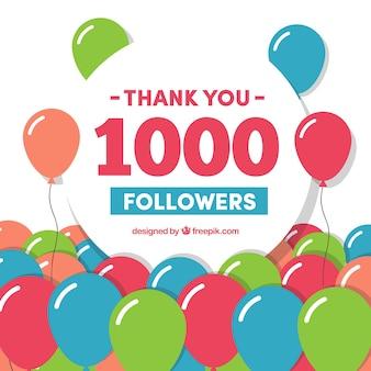 1000 подписчиков фон с воздушными шарами