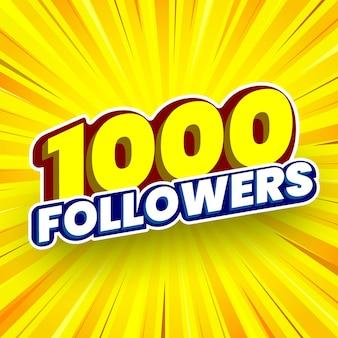 1000 followers banner vector illustration