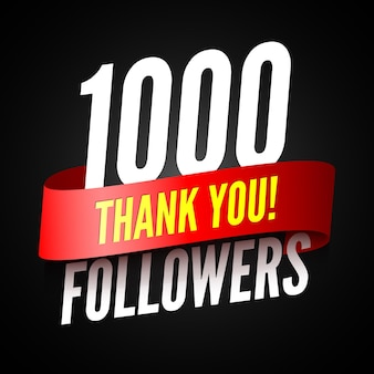 1000 followers banner with red ribbon with thanks to subscribers on social networks