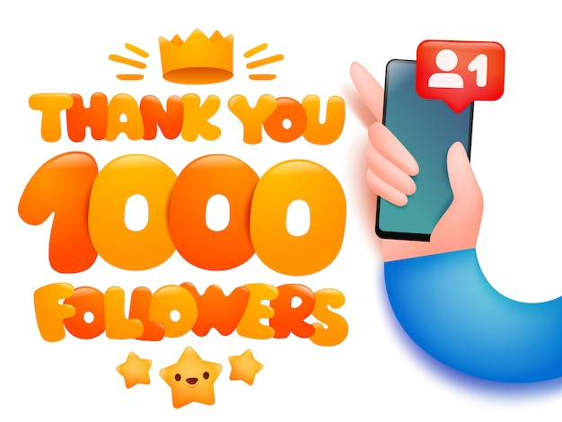 1000 followers cartoon illustration with hand holding smartphone