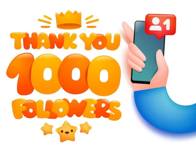 1000 подписчиков иллюстрации шаржа с рукой, держащей смартфон