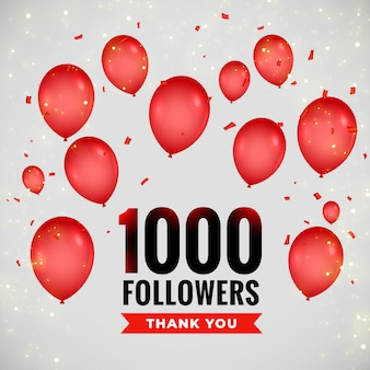 1000 followers greeting background with flying balloons