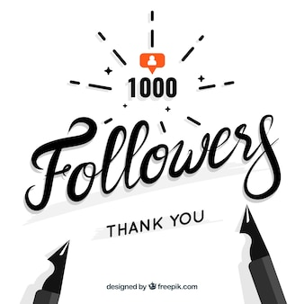 1000 followers ink design