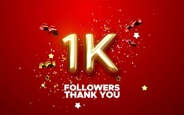 1000 followers sign with golden sign and confetti of social media banner design