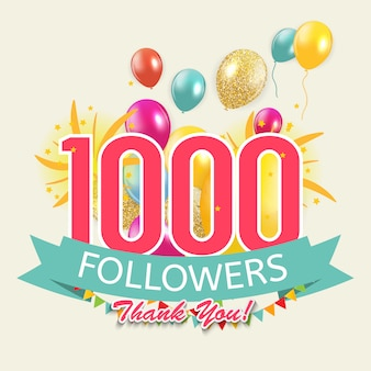 1000 followers, thank you background for social network friends.