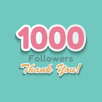 1000 followers, thank you banner for social media friends.