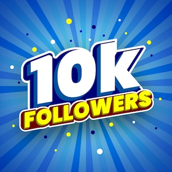 10000 followers colorful banner vector illustration