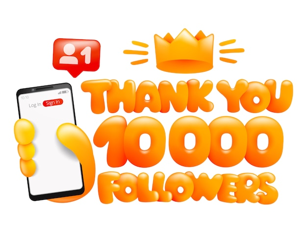 10000 followers, thank you social media card. smartphone in yellow hand
