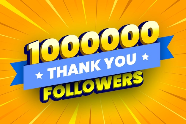 1000000 followers banner with blue ribbon