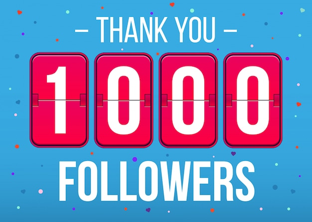 1000フォロワーの購読者、ありがとうカードバナー。