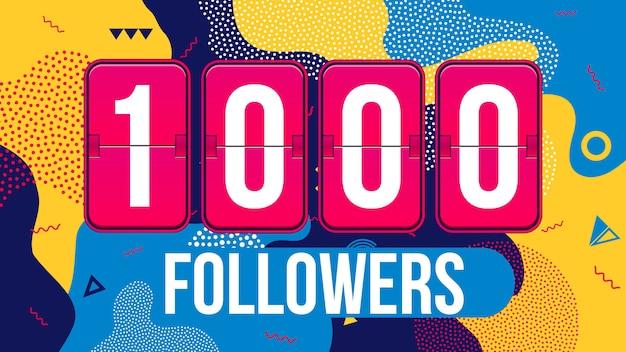 1000人のフォロワー登録者、ありがとうカードバナー。
