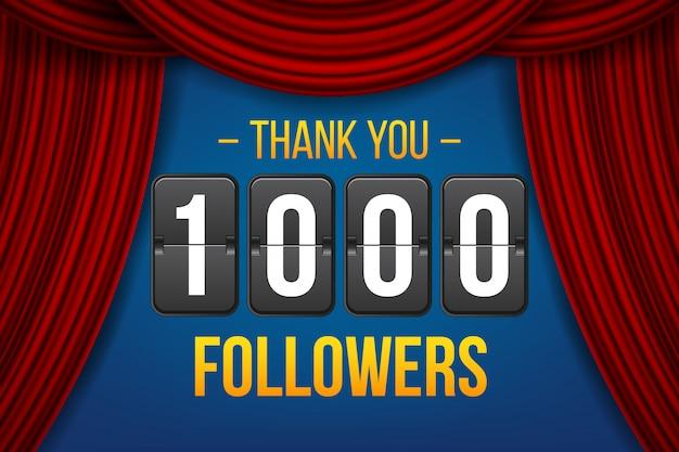 1000人のフォロワー登録者、ありがとうバナー。